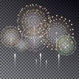 Праздничный прозрачный фейерверк разрывая в различных формах i Стоковое Фото