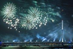 Праздничный салют в Риге Стоковая Фотография RF