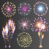 праздничный феиэрверк Абстрактные пиктограммы вектора Ослеплять освещает вверх небо Значки на черной предпосылке иллюстрация штока