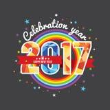 Праздновать красочную радугу 2017 бесплатная иллюстрация