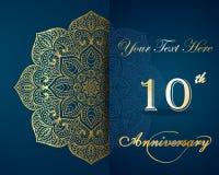 Празднующ 10 лет приглашения годовщины Стоковое Изображение