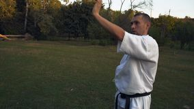 Практикующий врач карате человек в кимоно выполняет kata рано утром на glade в парке города видеоматериал