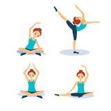 практикуя йога женщины резюмируйте вектор экрана цветов кнопки предпосылки голубой лоснистой изолированный иллюстрацией установле Стоковые Фотографии RF