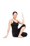 практикуя йога женщины smiley Стоковое Фото