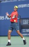 12 практик Рафаэля Nadal чемпиона грэнд слэм времен для США раскрывают 2013 на Arthur Ashe Stadium Стоковое Изображение