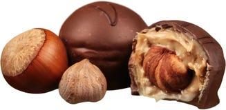 Пралине молочных шоколадов при изолированные гайки - Стоковое Фото