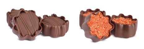 Пралине шоколада малые изолированные на белизне Стоковое Изображение