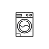 Прачечная, линия значок стиральной машины иллюстрация штока