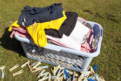 Прачечный и clothespins Стоковая Фотография RF