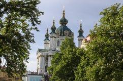 Превосходная церковь St Andrew в Киеве Стоковые Фото
