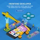 Превращаясь стиль 3d передвижных применений плоский равновеликий Голубой веб-дизайн Frontend разработчик app Люди работая на запу Стоковое фото RF