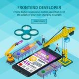 Превращаясь стиль 3d передвижных применений плоский равновеликий Frontend разработчик app Люди работая на запуске Свет - голубой  Стоковое фото RF