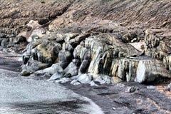 Превращенные в камень динозавры Берег моря и ссадины Barents archness стоковые фотографии rf