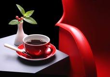 предводительствуйте красный цвет кофе горячий Стоковая Фотография