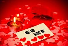 предложение замужества карточки звенит 2 Стоковые Фотографии RF