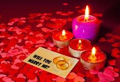 предложение замужества карточки звенит 2 Стоковые Фото