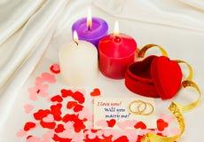 предложение замужества карточки звенит 2 Стоковое Изображение