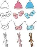 предметы малышей младенца установили стоковые фотографии rf