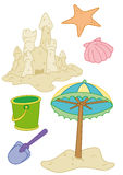 предметы пляжа Бесплатная Иллюстрация