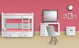 Предназначенная для подростков комната девушки реалистическая бесплатная иллюстрация
