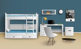 Предназначенная для подростков комната мальчика реалистическая иллюстрация вектора