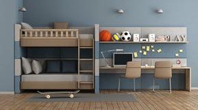 Предназначенная для подростков комната с двухъярусной кроватью иллюстрация штока