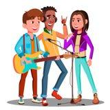 Предназначенная для подростков рок-группа играя музыку на векторе гитары изолированная иллюстрация руки кнопки нажимающ женщину с бесплатная иллюстрация