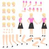 Предназначенное для подростков творение девушки установило - молодой персонаж из мультфильма студентки с белокурыми волосами иллюстрация штока