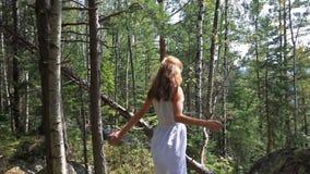Предназначенный для подростков в белом платье идет на утесы в лесе на солнечный день видеоматериал