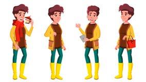 Предназначенными для подростков вектор девушки установленный представлениями Эмоциональный, представление Для рекламировать, плак бесплатная иллюстрация