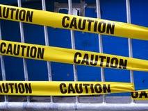 предостерегите желтый цвет ленты Стоковое Изображение
