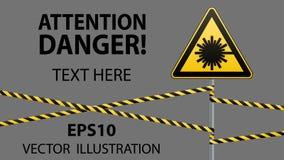 Предосторежение - безопасность предупредительного знака опасности Опасность, радиация лазера иллюстрация штока