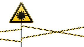 Предосторежение - безопасность предупредительного знака опасности Опасность, радиация лазера желтый треугольник с черным изображе иллюстрация вектора