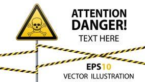 Предосторежение - безопасность предупредительного знака опасности Ядовитые и опасные вещества Смертная опасность - отрава желтый  бесплатная иллюстрация