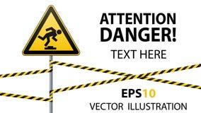 Предосторежение, низко-заметное препятствие Безопасность предупредительного знака Внимание опасно желтый треугольник с черным изо иллюстрация вектора