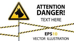 Предосторежение - опасность отдавать собак зона защищена собаками Безопасность предупредительного знака знак на поляке и предупре иллюстрация вектора