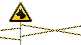 Предосторежение - опасность отдавать собак зона защищена собаками Безопасность предупредительного знака знак на поляке и предупре бесплатная иллюстрация
