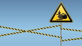 Предосторежение, руки может быть ранено Безопасность предупредительного знака Внимание опасно желтый треугольник с черным изображ иллюстрация вектора