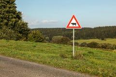 Предосторежение устрашает знак скрещивания рядом с проселочной дорогой, лесом в dista стоковые фотографии rf