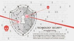Предохранение от системы Концепция безопасностью кибер: Экран на предпосылке цифровых данных также вектор иллюстрации притяжки co Стоковое фото RF