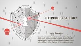 Предохранение от системы Концепция безопасностью кибер: Экран на предпосылке цифровых данных также вектор иллюстрации притяжки co Стоковое Фото