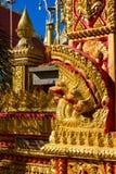 Предохранитель змейки дракона Naga Phaya в виске Wat в Таиланде Стоковое фото RF