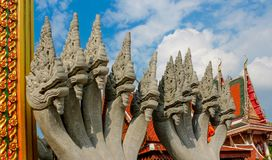 Предохранитель змейки дракона Naga Phaya в виске Wat в Таиланде Стоковое Фото
