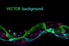 Предпосылка абстрактного вектора волнистая, ноча освещает, красочные накаляя кривые иллюстрация вектора