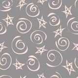 Предпосылка абстрактных звезд и спиралей, безшовной картины вектор стоковые фотографии rf