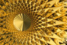 Предпосылка абстрактных футуристических золотых шипов геометрическая, иллюстрация 3d стоковое изображение