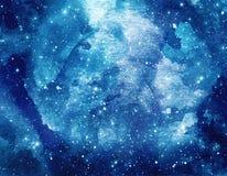Предпосылка акварели космоса Абстрактная картина галактики Космическая текстура с звездами стоковое изображение rf