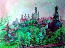 Предпосылка акварели красочная яркая текстурированная handmade Ландшафт Сделанная картина исторических собора и городка колокола, Стоковая Фотография