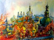 Предпосылка акварели красочная яркая текстурированная handmade Ландшафт Сделанная картина исторических собора и городка колокола, Стоковая Фотография RF