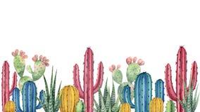 Предпосылка акварели с пустыней и кактусами Стоковые Изображения RF